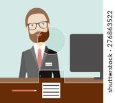 man clerk in a bank. flat...   Shutterstock .eps vector #276863522
