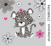 cute leopard baby with flowers  ... | Shutterstock .eps vector #276881396