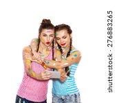two attractive  girlfriends... | Shutterstock . vector #276883265