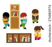kids reading. library vector. | Shutterstock .eps vector #276883976
