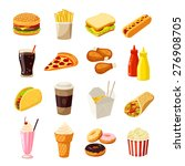 Set Of Cartoon Fast Food....