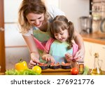 cute mother with child daughter ... | Shutterstock . vector #276921776