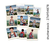 photo collage girl tourist in... | Shutterstock . vector #276954878