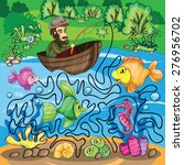 fisherman maze game   bright... | Shutterstock .eps vector #276956702