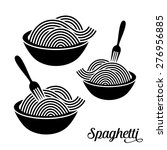 spaghetti or noodle with fork... | Shutterstock .eps vector #276956885