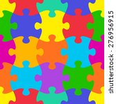 colorful vector jigsaw puzzle... | Shutterstock .eps vector #276956915