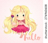 funny card with a little girl....   Shutterstock . vector #276960608
