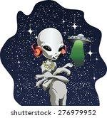 vector cartoon alien listens to ...