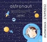 astronaut in space. moon  moon... | Shutterstock .eps vector #276992012