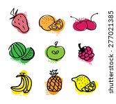 set of fresh fruits hand drawn...   Shutterstock .eps vector #277021385