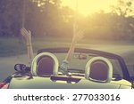 happy traveler woman in cabrio... | Shutterstock . vector #277033016