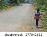 schoolkids walking to school on ... | Shutterstock . vector #277042832