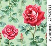 watercolor rose flowers... | Shutterstock . vector #277057595