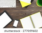 laptop and office stuff ... | Shutterstock . vector #277059602