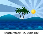 palm tree  the sea and waves. | Shutterstock . vector #277086182