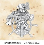 pirate captain behind steering... | Shutterstock .eps vector #277088162