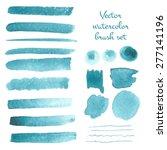 Set Of Watercolor Vector Brush...