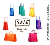 watercolor set of shopping bags