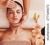 masseur doing massage the head... | Shutterstock . vector #277160672
