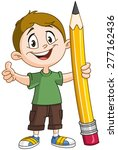Young Boy Holding A Big Pencil...