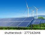 solar panels and wind turbines... | Shutterstock . vector #277162646