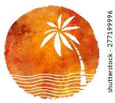 watercolor summer beach print.... | Shutterstock .eps vector #277199996