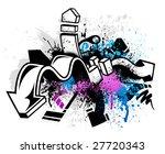black graffiti sketch with blue ...