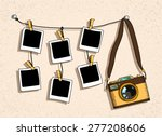 vintage photo camera and six...   Shutterstock .eps vector #277208606