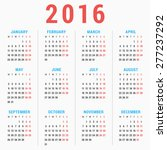 calendar for 2016 on white... | Shutterstock .eps vector #277237292