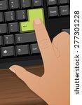 hand pressing a green 'enter'... | Shutterstock .eps vector #277301228
