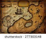 map of treasure island with the ... | Shutterstock . vector #277303148