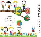 happy boys and girls in garden... | Shutterstock .eps vector #277304636