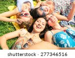 multiracial girlfriends taking... | Shutterstock . vector #277346516