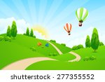 green landscape with road  hot... | Shutterstock . vector #277355552