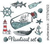hand drawn vintage nautical set....