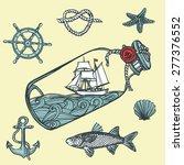 hand drawn vintage nautical set.... | Shutterstock .eps vector #277376552
