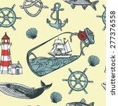 hand drawn vintage nautical... | Shutterstock .eps vector #277376558