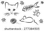 Stock vector cartoon cat fish bone and mouse 277384505