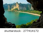 railay bay  beach and boats  ... | Shutterstock . vector #277414172
