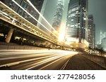 Traffic City Night  At Hongkon...
