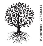 black vector tree and roots | Shutterstock .eps vector #277436666