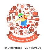 summer break schoolboy on... | Shutterstock .eps vector #277469606