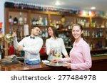happy waitress holding tray... | Shutterstock . vector #277484978