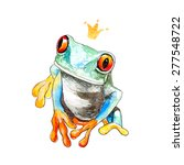 vector watercolor tropical frog ... | Shutterstock .eps vector #277548722