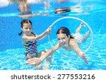 happy children swim in pool... | Shutterstock . vector #277553216