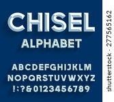 chiseled alphabet vector font.... | Shutterstock .eps vector #277565162