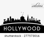 Hollywood USA Skyline Silhouette Black And White Design Vector Illustration