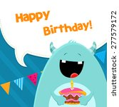 monster with birthday cake | Shutterstock .eps vector #277579172