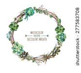 Vector flower wreath of succulents in a watercolor style. Vintage floral wreath. Decorative floral element for design of invitations, covers, notebooks and other items. Floral wreath ?4