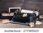 Retro Typewriter On Wooden...